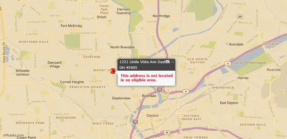 USDA Loan Eligiblity Map - 1221 Linda Vista Ave, Dayton, OH 45405