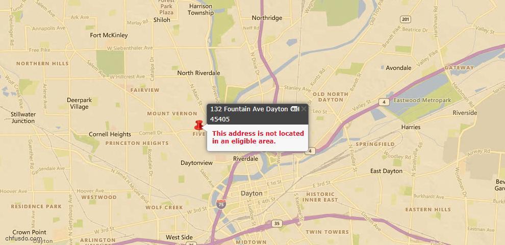 USDA Loan Eligiblity Map - 132 Fountain Ave, Dayton, OH 45405