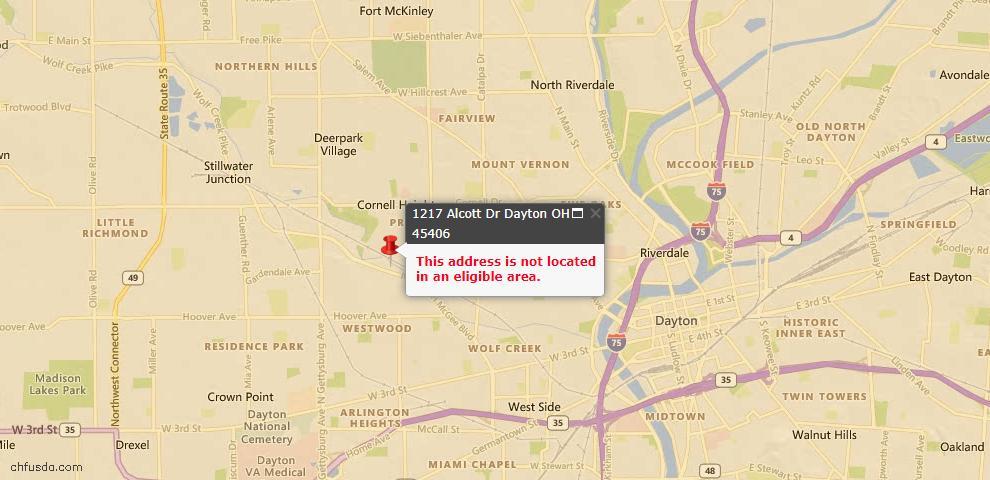 USDA Loan Eligiblity Map - 1217 Alcott Dr, Dayton, OH 45406
