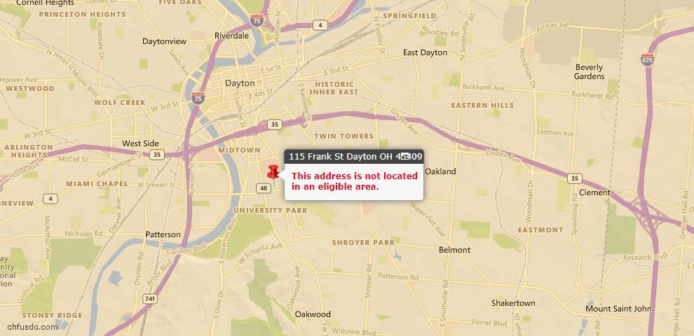 USDA Loan Eligiblity Map - 115 Frank St, Dayton, OH 45409