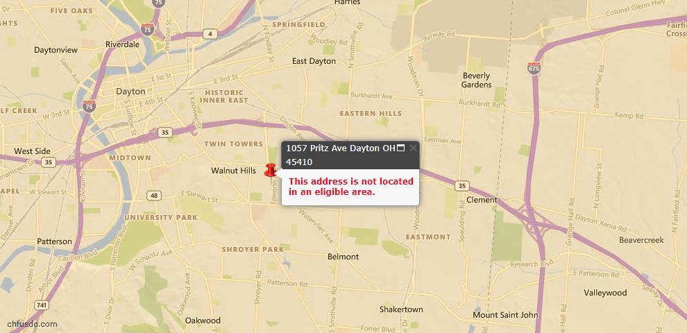 USDA Loan Eligiblity Map - 1057 Pritz Ave, Dayton, OH 45410