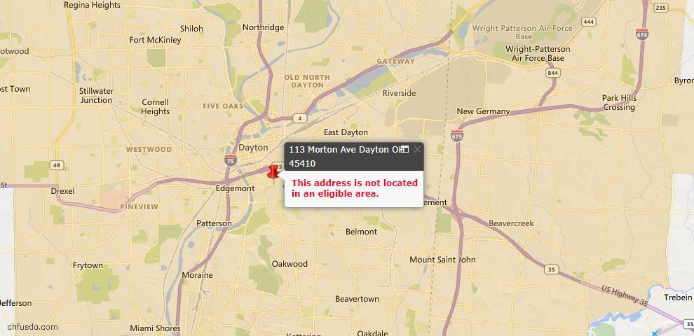USDA Loan Eligiblity Map - 113 Morton Ave, Dayton, OH 45410