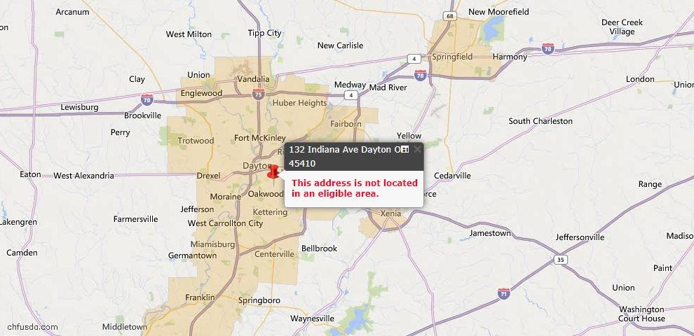USDA Loan Eligiblity Map - 132 Indiana Ave, Dayton, OH 45410