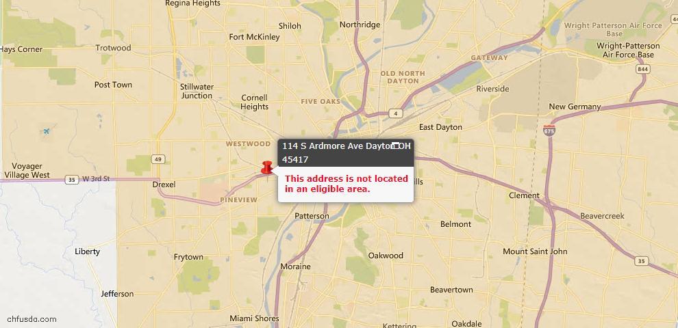 USDA Loan Eligiblity Map - 114 S Ardmore Ave, Dayton, OH 45417