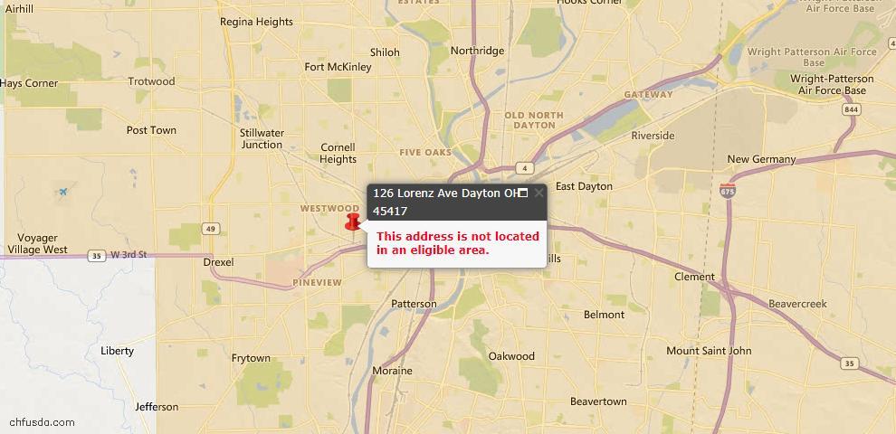 USDA Loan Eligiblity Map - 126 Lorenz Ave, Dayton, OH 45417