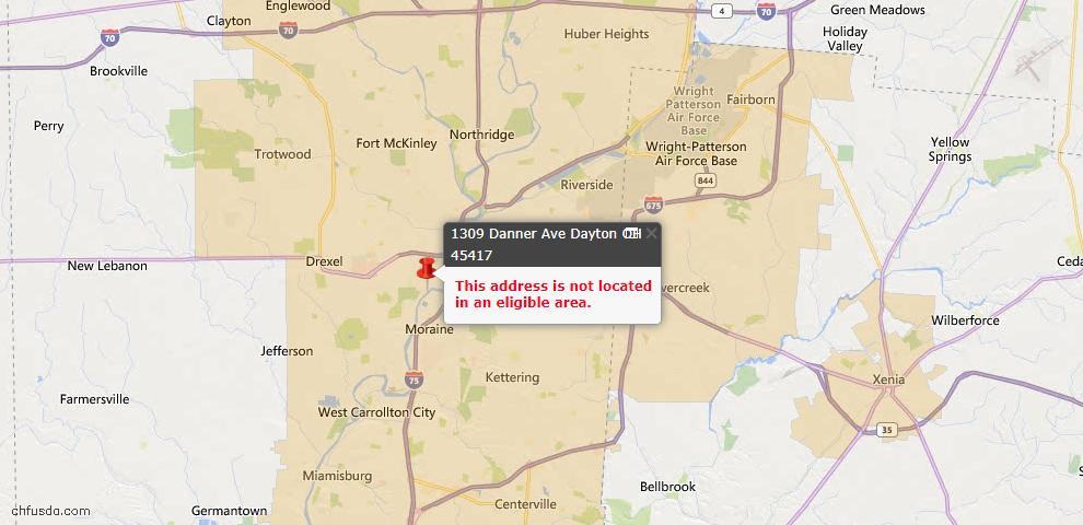 USDA Loan Eligiblity Map - 1309 Danner Ave, Dayton, OH 45417