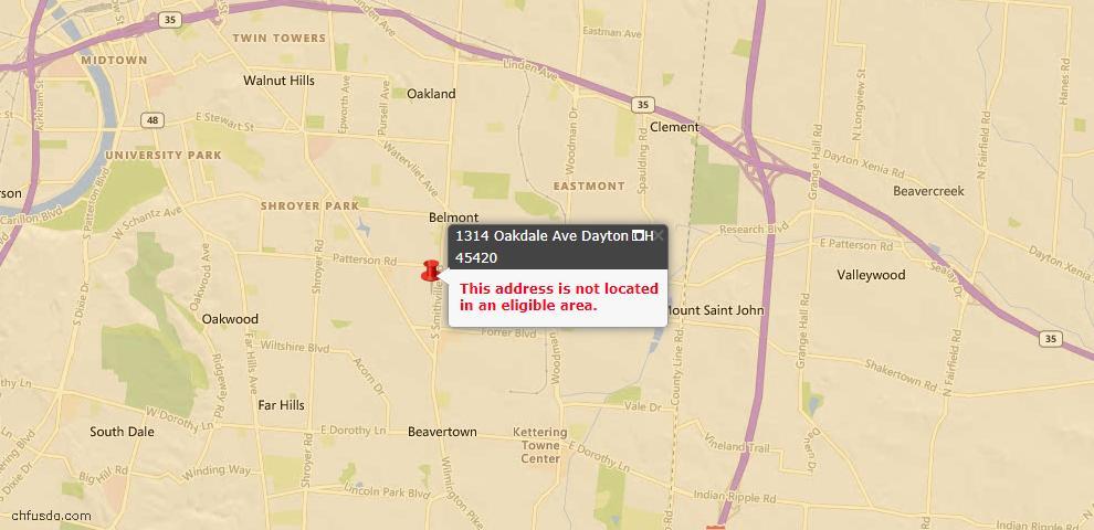 USDA Loan Eligiblity Map - 1314 Oakdale Ave, Dayton, OH 45420