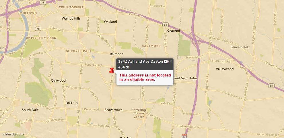 USDA Loan Eligiblity Map - 1342 Ashland Ave, Dayton, OH 45420