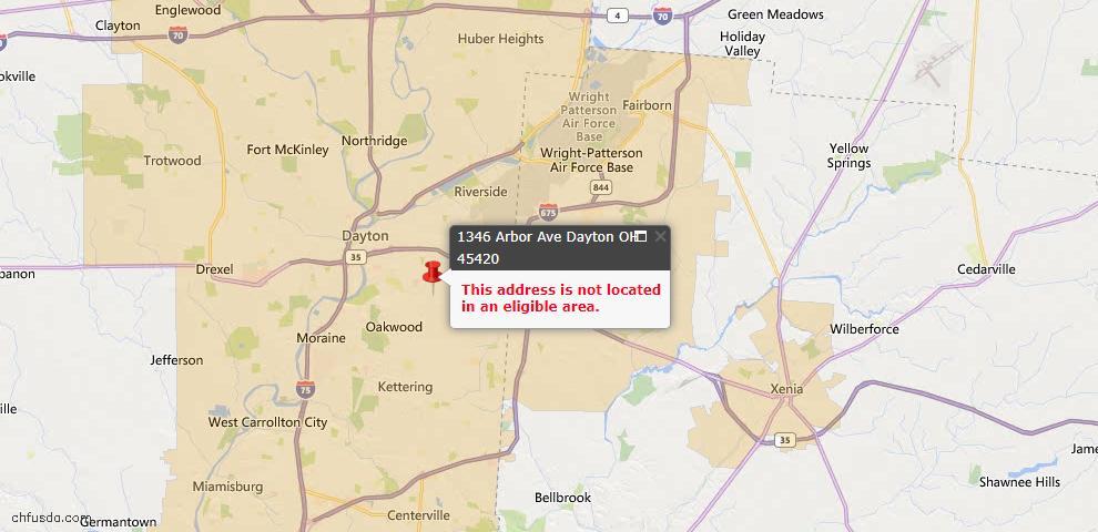USDA Loan Eligiblity Map - 1346 Arbor Ave, Dayton, OH 45420