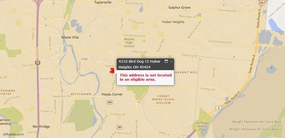 USDA Loan Eligiblity Map - 4210 Bird Dog Ct, Huber Heights, OH 45424