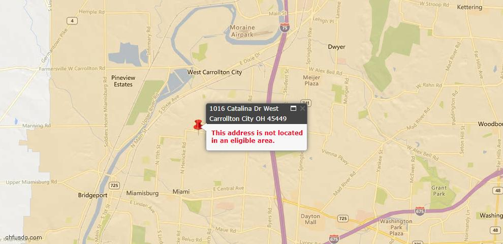 USDA Loan Eligiblity Map - 1016 Catalina Dr, West Carrollton, OH 45449