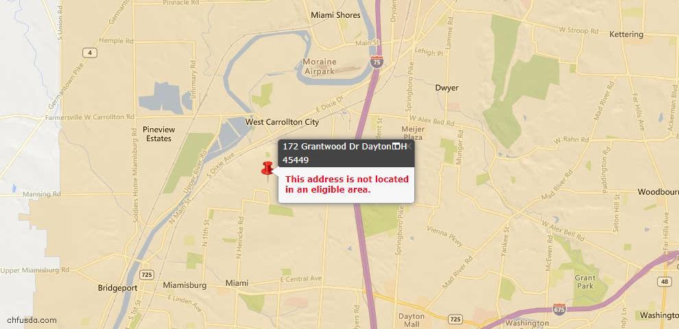 USDA Loan Eligiblity Map - 172 Grantwood Dr, Dayton, OH 45449