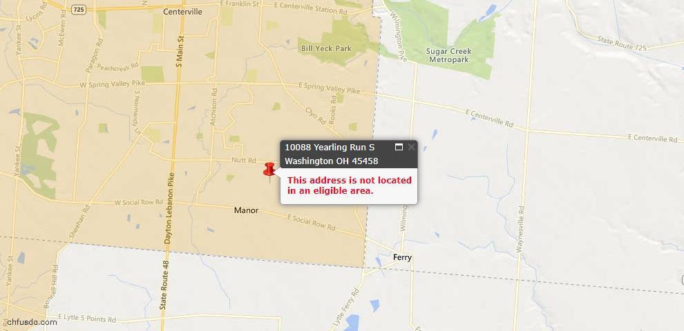 USDA Loan Eligiblity Map - 10088 Yearling Run South S, Washington Township, OH 45458