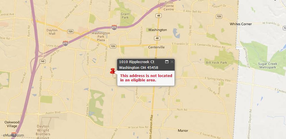 USDA Loan Eligiblity Map - 1010 Ripplecreek Ct, Washington Township, OH 45458