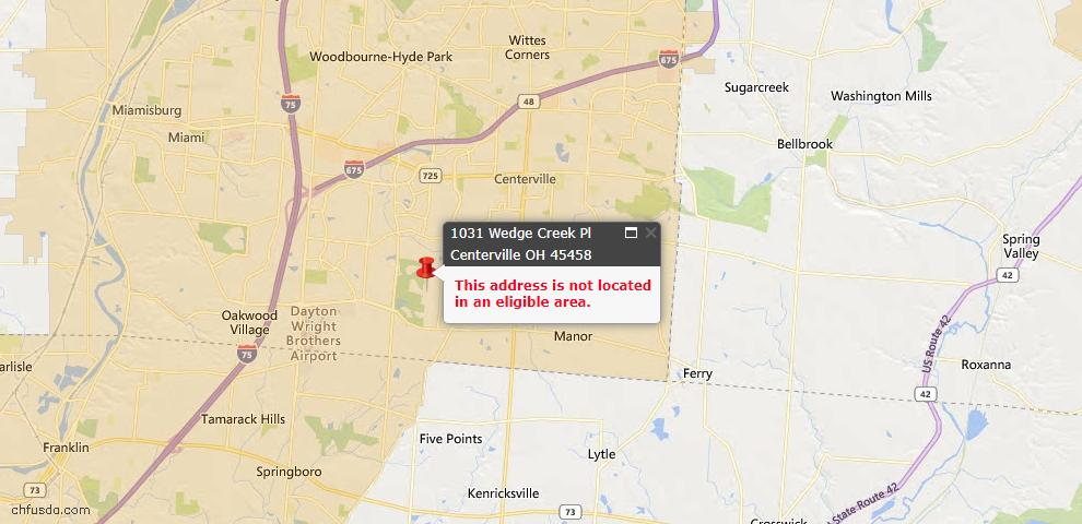 USDA Loan Eligiblity Map - 1031 Wedge Creek Pl, Centerville, OH 45458
