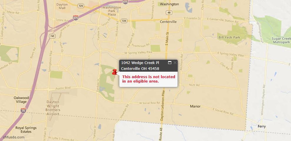 USDA Loan Eligiblity Map - 1042 Wedgecreek Pl, Centerville, OH 45458