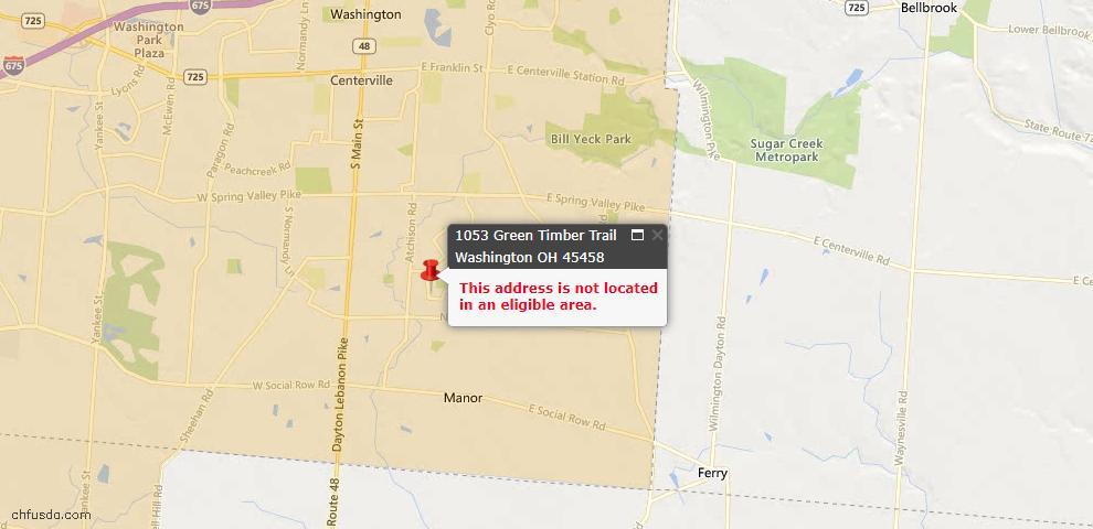 USDA Loan Eligiblity Map - 1053 Green Timber Trl, Washington Township, OH 45458
