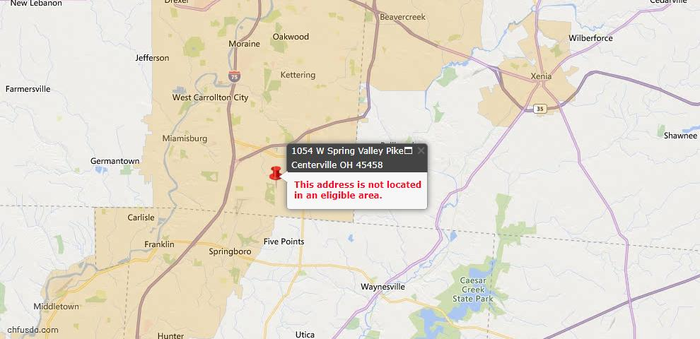 USDA Loan Eligiblity Map - 1054 W Spring Valley Pike, Centerville, OH 45458