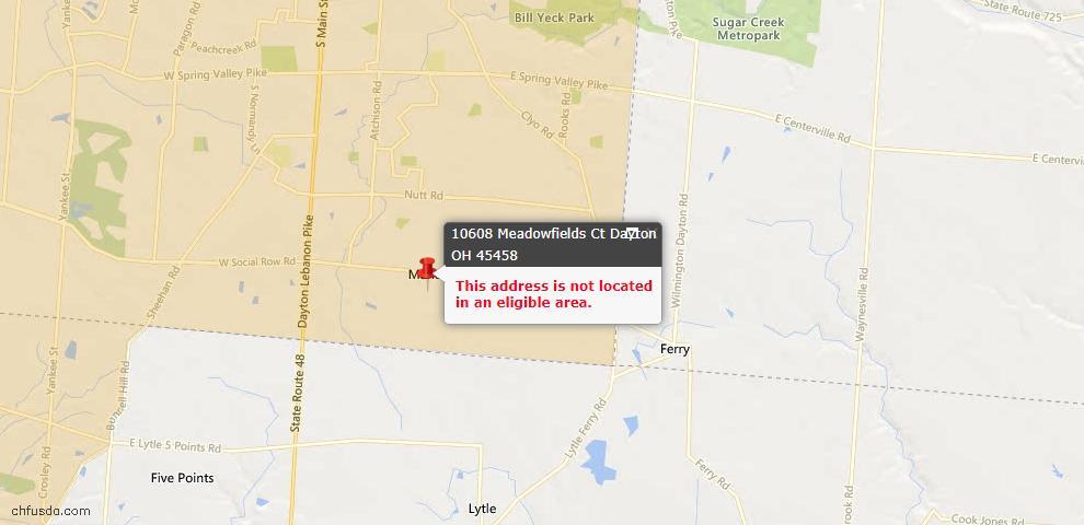 USDA Loan Eligiblity Map - 10608 Meadowfields Ct, Dayton, OH 45458