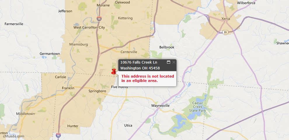 USDA Loan Eligiblity Map - 10676 Falls Creek Ln, Washington Township, OH 45458