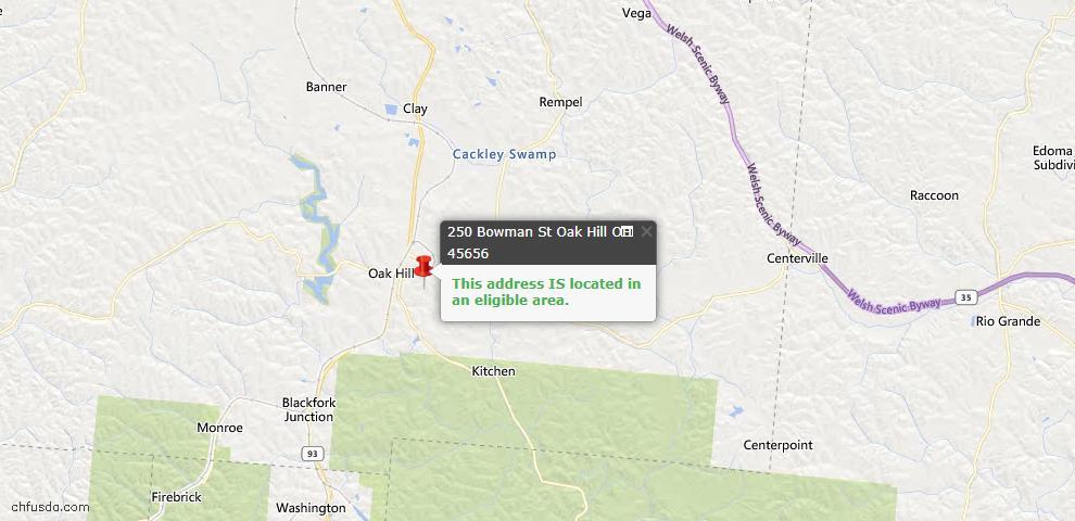 USDA Loan Eligiblity Maps From - Oak Hill, OH