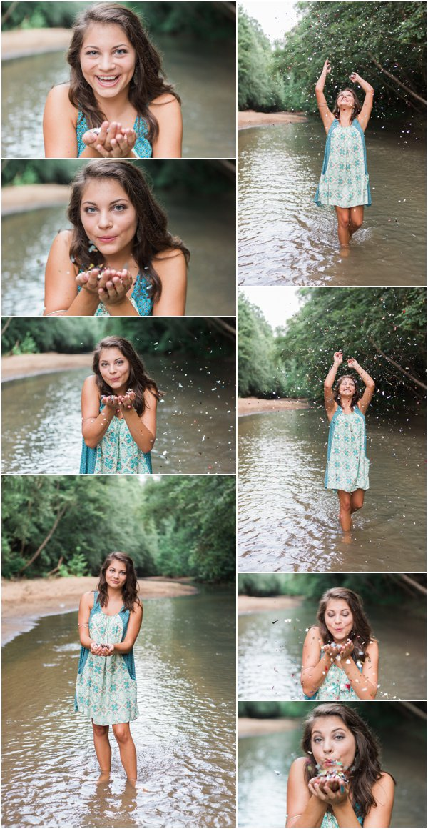 senior, photography, confetti, creek