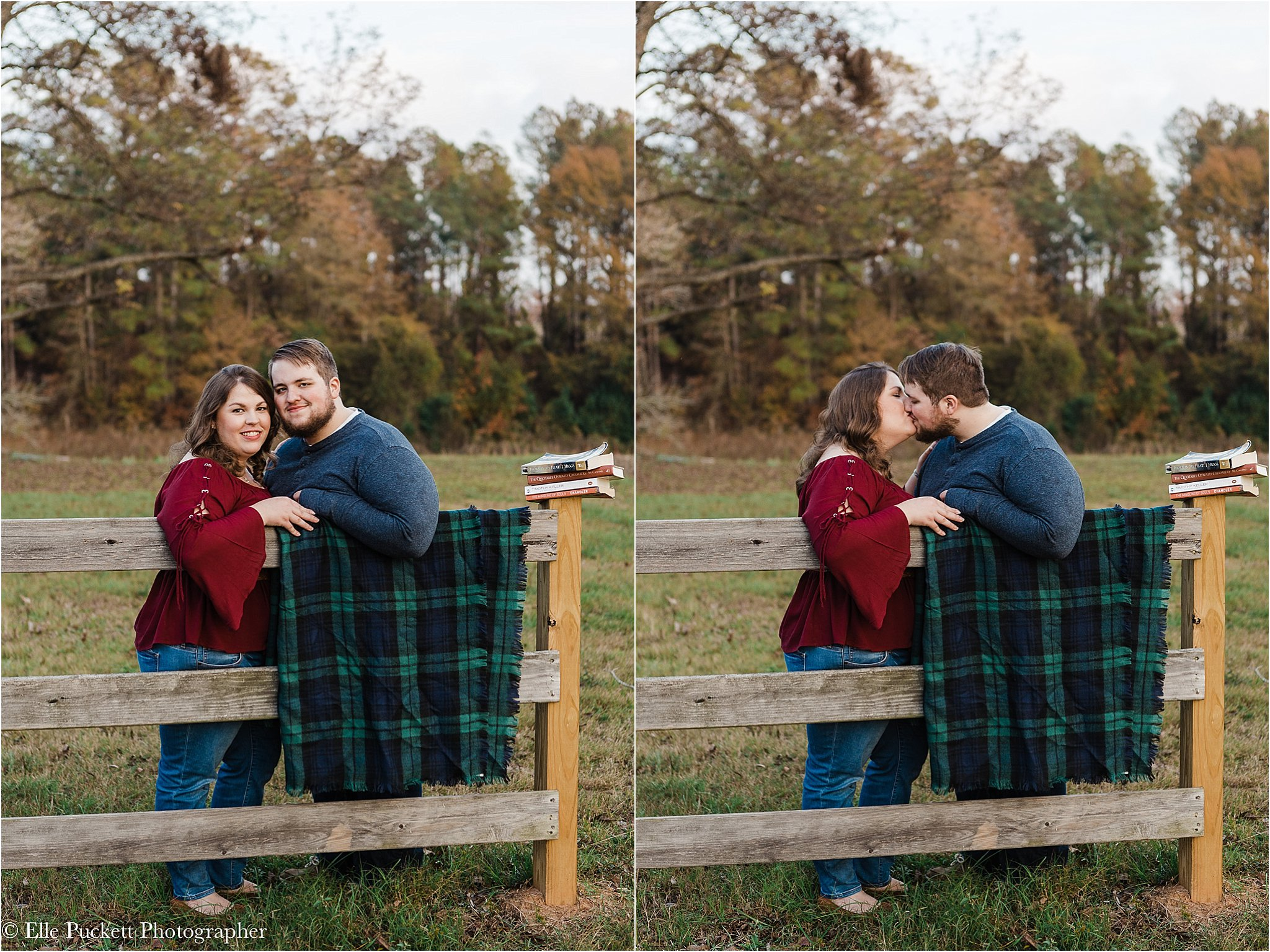 engagement photos with books