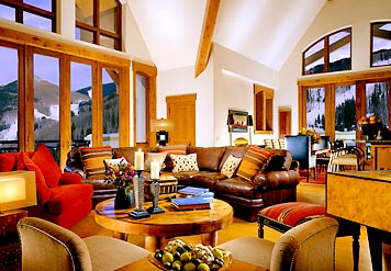 Living room with mountain view