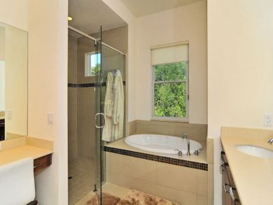 Master bathroom with tub & walk-in shower