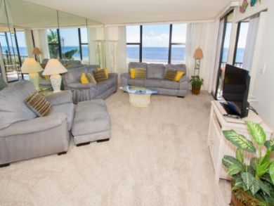 Large living room with full gulf views