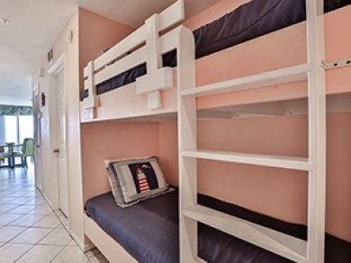 One set of bunk beds in hallway
