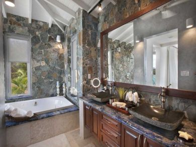 Bathroom with jacuzzi tub & walk-in shower