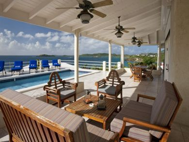 Furnished porch by the pool