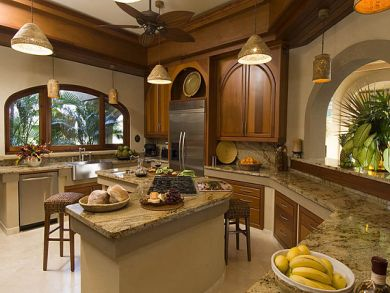 Gourmet kitchen with breakfast bar