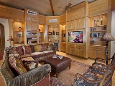 Library with large flat screen TV