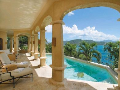 Pool & ocean view porch with outdoor furniture
