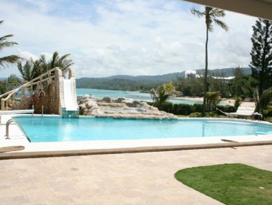 Stone slide to pool