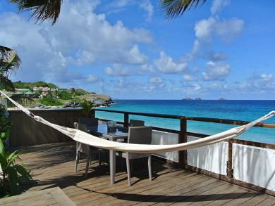 Beach front deck with hammock