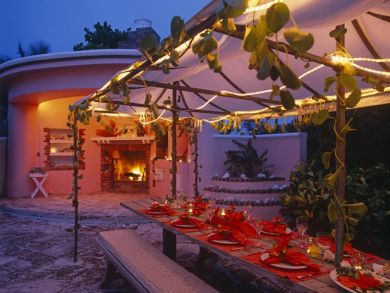 Outdoor dining area & fireplace