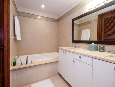 Bathroom with jetted tub & walk-in shower