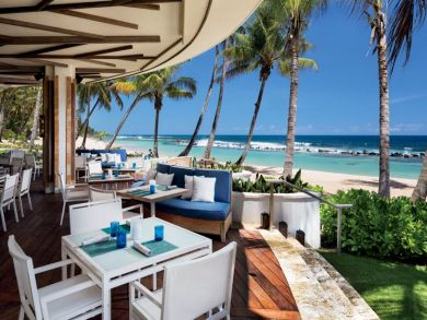 Beach front dining area
