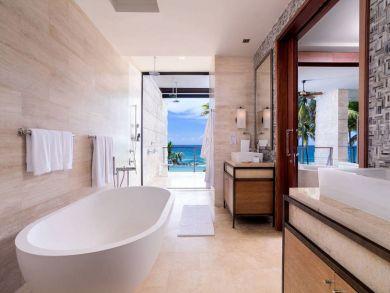 Elegant bathroom with tub & walk-in shower