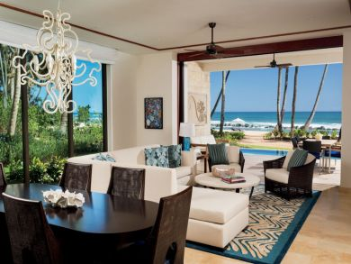 Beach view living & dining area