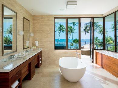 Elegant bathroom with tub & double vanity