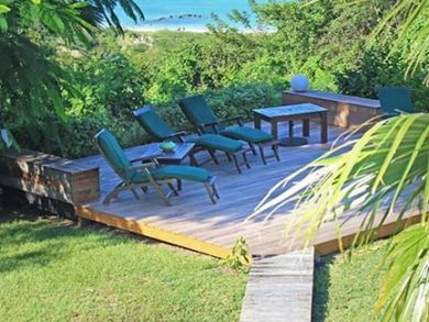 Lounging chairs on deck