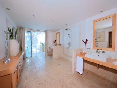 Bathroom with walk-in shower & dual vanity