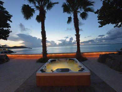 Hot tub view at night