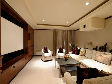 Media room with large theatre screen TV