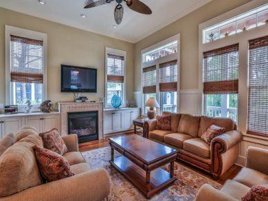 Front Porch; Fireplace U0026 Flat Screen TV In Living Area; Santa Rosa Beach  Rental Six Bedrooms; Living Room ...