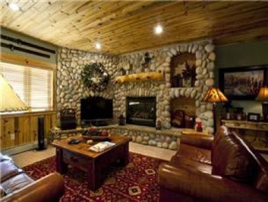 Living Area with Fireplace & Flat Screen TV